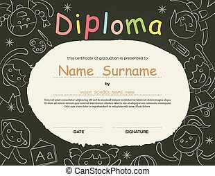 Preschool Elementary school Kids Diploma certificate background