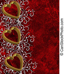 Valentines Day Border Hearts - Illustrated gold hearts on...