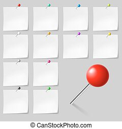 Sticky Notes With Pushpins - Set of Blank sticky notes with...