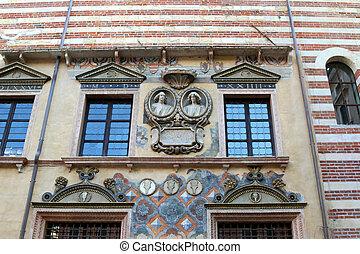 Details of the Lamberti Tower (Torre dei Lamberti) in the...