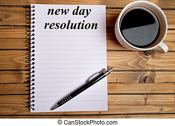 New day resolution word on notepad