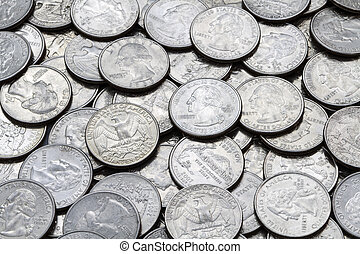 Pile Of Various Used Modern USA Washington Quarters - A...
