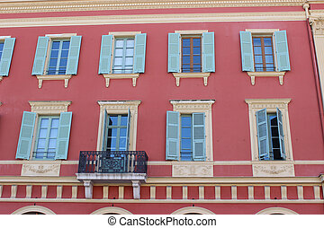 Facade of a Building in Nice - Beautiful pink facade of a...