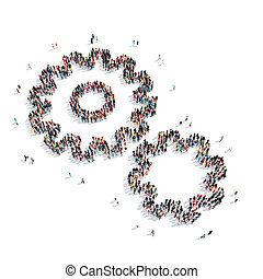 people shape gear isolated - A group of people in the shape...