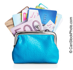 Different credit cards and euro banknotes in purse