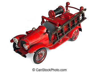 Antique Toy Fire Engine - Antique toy fire engine isolated...