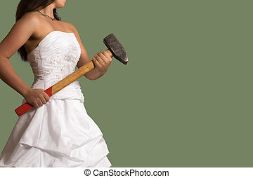 Young confident bride with a sledgehammer - Young confident...