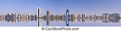 Abu Dhabi Panorama - Abu Dhabi Panoramic view with beautiful...