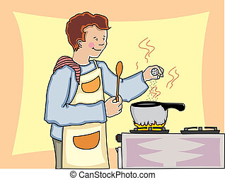 Man cooking - Young man cooking and adding spices to a hot...