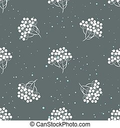 Rowanberry branch and snow seamless pattern Vector...