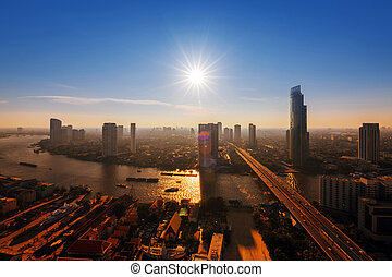 bangkok thailand - Chao Phraya river and high building sky...
