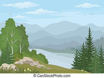 Landscape with Trees and Mountain Lake - Landscape with...