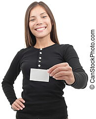 Woman showing business card - Young casual professional...