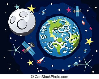 Earth Planet - Cartoon planet Earth in open space with moon...