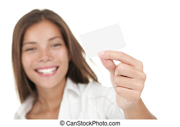 Woman with business card - Business card Casual young and...