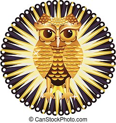 Golden Owl - Decorative metal owl illustration, cute owl...