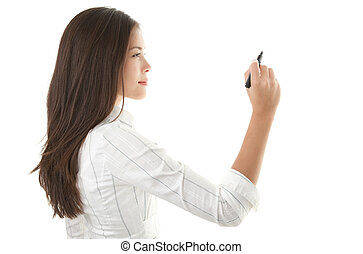 Businesswoman writing on copy space - Businesswoman writing...