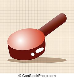 kitchenware frying pan and shovel theme elements