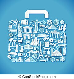 Blue Travel Vector Luggage - Vector Illustration of a...