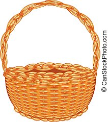 Wicker Basket - Illustration of brown wicker basket on white...