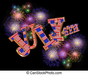 4th of July 3D text fireworks horizontal