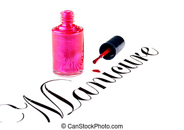Word Manicure with a small bottle of red nail polish, a...