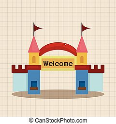 Amusement park facilities theme elements