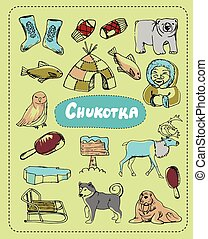 Vector set of tourist attractions Chukotka. - Tourist...