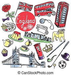 Vector set of tourist attractions England. - Tourist...