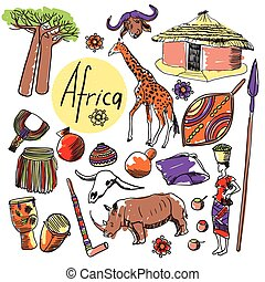 Vector set of tourist attractions Africa. - Tourist...