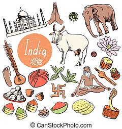 Vector set of tourist attractions India. - Tourist...