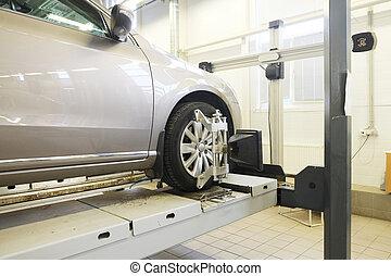 car in a repair garage