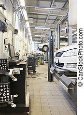 car repair station - Interior of a car repair station