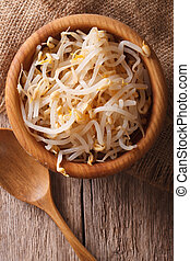 Raw sprouts of mung beans in a wooden bowl vertical top view...