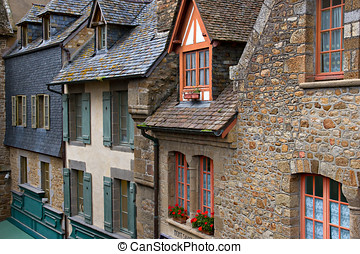 Old medieval houses in Mont Saint Michel