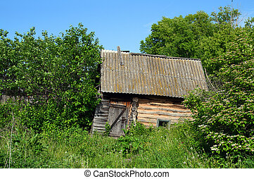 old obsolete bath-house in lush foliage - old wooden...