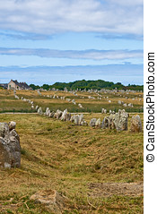 Prehistoric megalithic menhirs alignment in Carnac,...