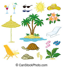 Exotic Set, Palm, Flowers and Beach Objects