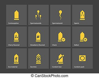 Condom and spermatozoid icons.