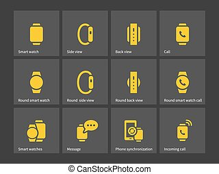 Smart watch with phone icons.