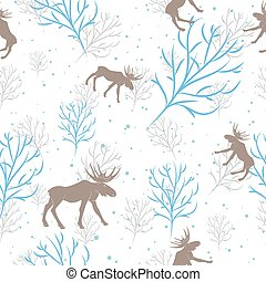 Forest deer and tree branch seamless pattern. Vector...