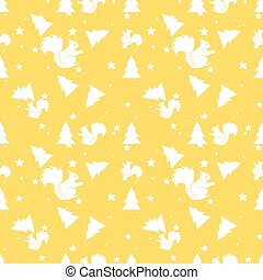 Forest squirrel and fir tree yellow seamless pattern. Vector background