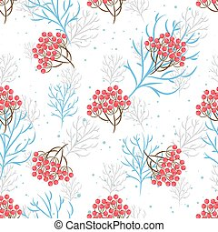 Rowanberry branch seamless pattern Vector background -...