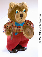 Wind up teddy bear - Wind-up teddy bear with brass cymbals,...