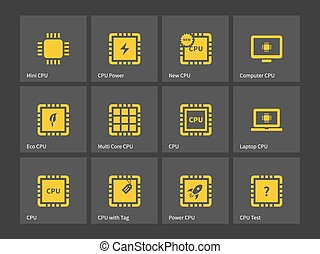 CPU, Central Processing Unit icons.