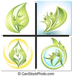 Eco-icon green dancers with tree concept - Eco icon green...