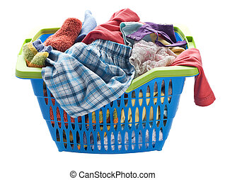 Laundry - Basket with laundry isolated on white close up