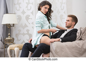 Sexy brunette seduced a guy in business suit