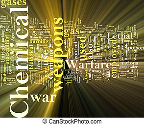Chemical weapons word cloud glowing - Word cloud concept...