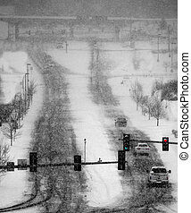 Driving in Winter Snow Storm on Streets in Town - Cars...